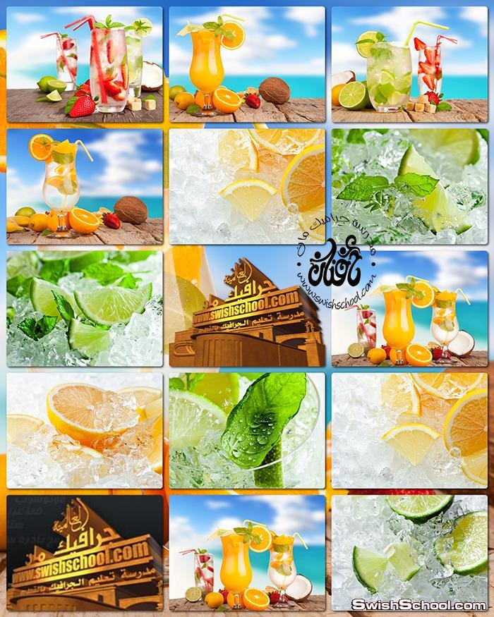 ستوك فوتو عصير مشكل وشرائح ليمون مع الثلج jpg - صور عاليه الجوده للدعايه والاعلان