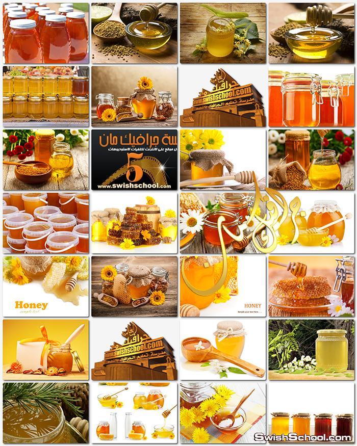 صور برطمنات عسل و شمع النحل الابيض عاليه الدقه للتصميم jpg