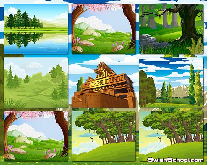 خلفيات وفيكتور طبيعه خضراء للتصميم eps , jpg