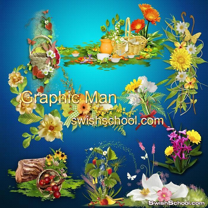 سكرابز زهور الربيع لتزين التصاميم عاليه الجوده في ملف مفتوح psd