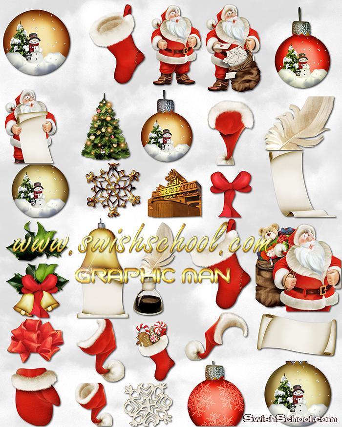 صور بابا نويل png - سكرابز راس السنه - مقصوصات زينه لتصاميم كروت العام الجديد