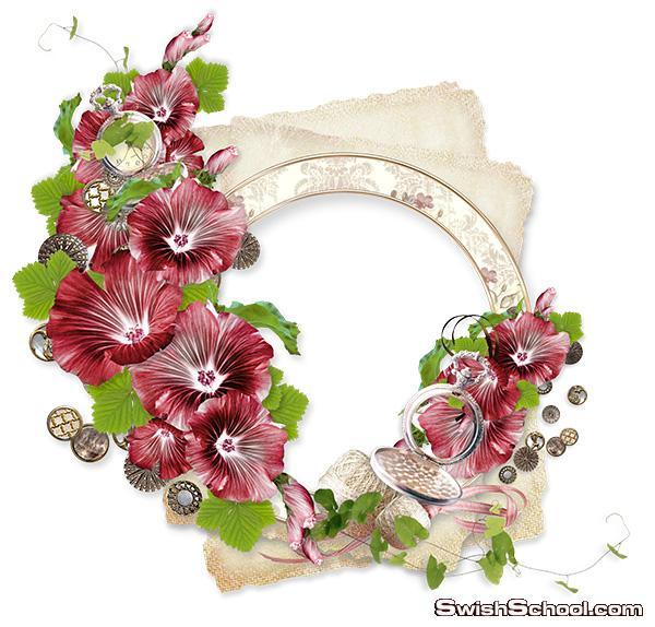 اجمل فريمات واكسسورات الورد والزهور لتصاميم الفوتوشوب والاستديوهات png - الجزء الاول