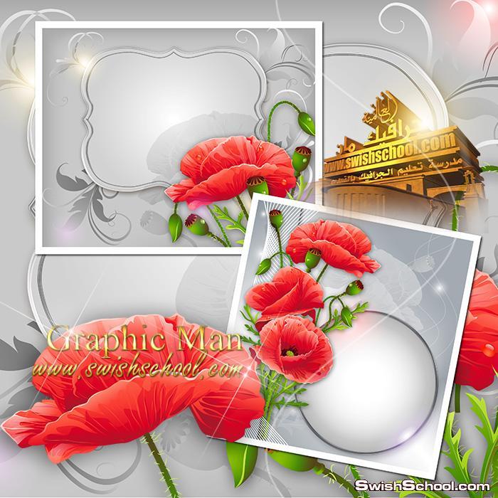 خلفيات فوتوشوب فخمه باللون الفضي مع زهور حمراء لتصاميم المناسبات psd - قوالب مفتوحه المصدر للاستديوهات