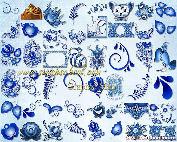 سكرابز زخارف ونقوش باللون الازرق الملكي لتصاميم الفوتوشوب png