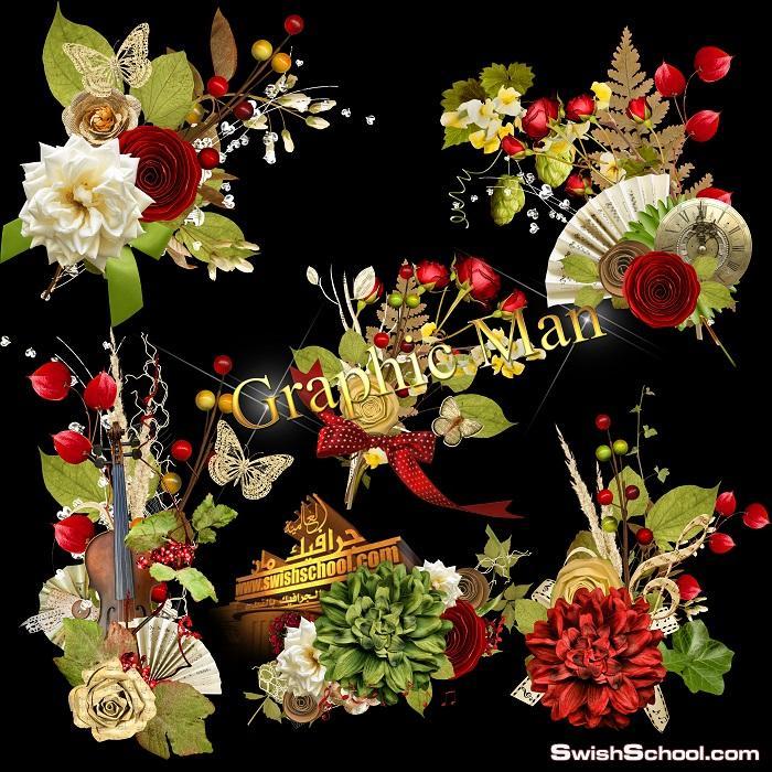 سكرابز زهور الربيع لتزين التصاميم عاليه الجوده في ملف مفتوح psd - الجزء الثالث