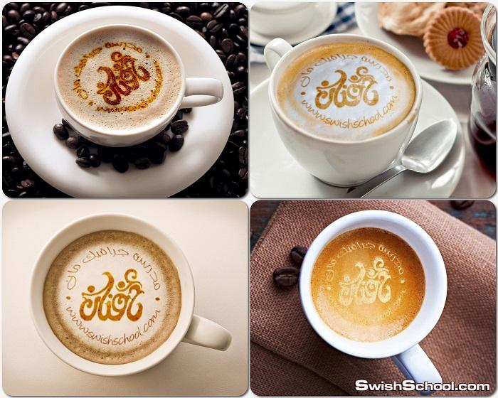 موك اب كتابه الشعار على وش القهوه mockup - موك اب عرض اللوجهات اعلى فنجان القهوه psd