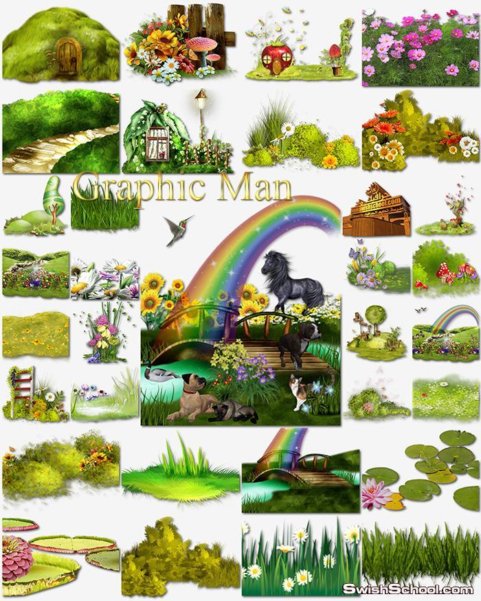 سكرابز زرع واعشاب وزهور ومناظر خضراء كارتون لتصاميم الصغار png