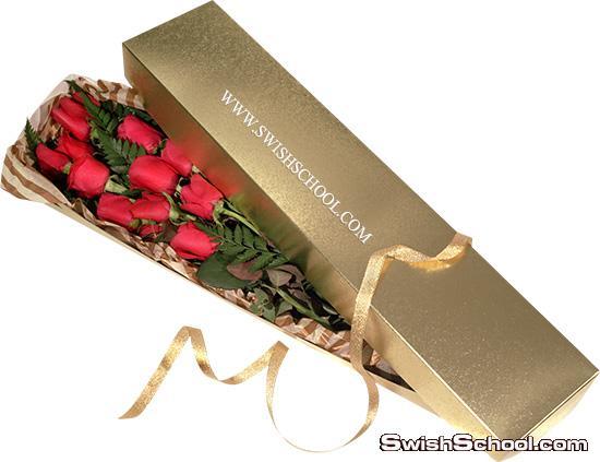 صور مفرغه زهور في علب هدايا عاليه الجوده لاضافتها على الكروت وتصاميم المناسبات السعيده png