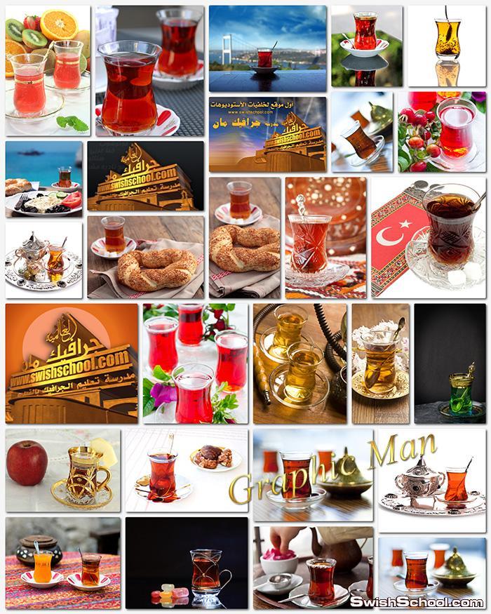 ستوك فوتو فناجين شاي تركي عاليه الجوده للدعايه والاعلان jpg