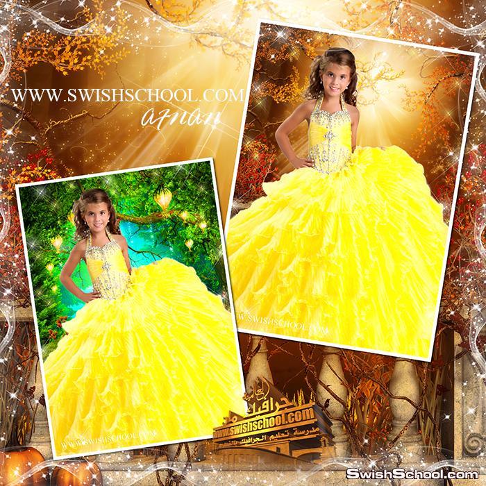 قالب تركيب وجه بنت بفستان اصفر مع خلفيات خياليه psd - قوالب الخدع لاستديوهات التصوير