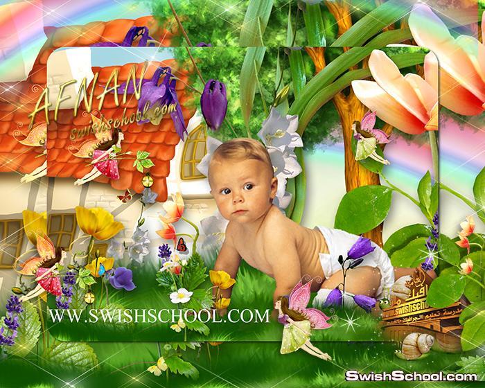 قالب فوتوشوب طبيعه خضراء مع فراشات فيري psd - خلفيات مفتوحه متعدده الطبقات للاطفال الصغار