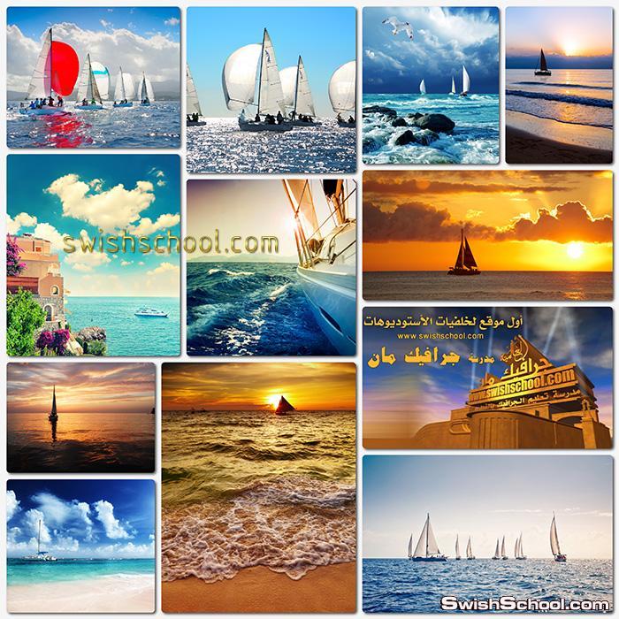 ستوك فوتو يخت شراعي في الماء عالي الدقه لعشاق البحر والمناظر الساحره jpg