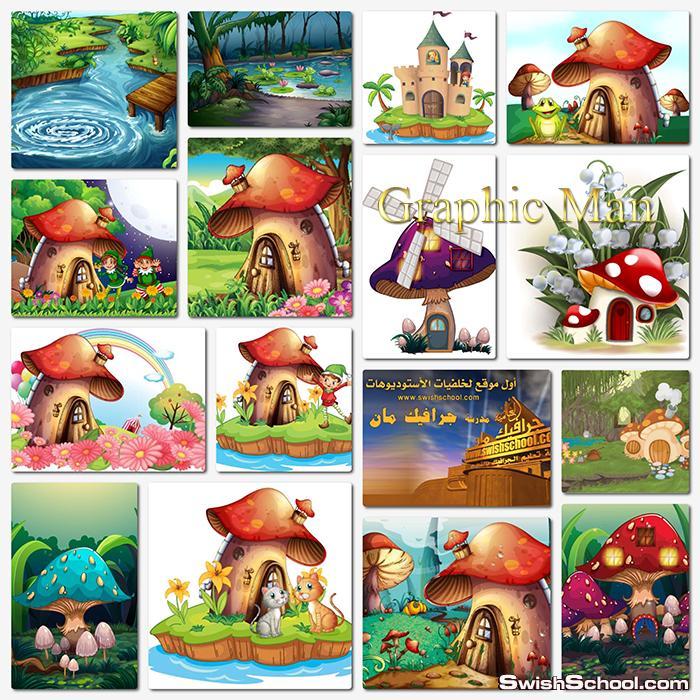 خلفيات جرافيك فيكتور رسومات فيري خياليه لتصاميم الاطفال eps