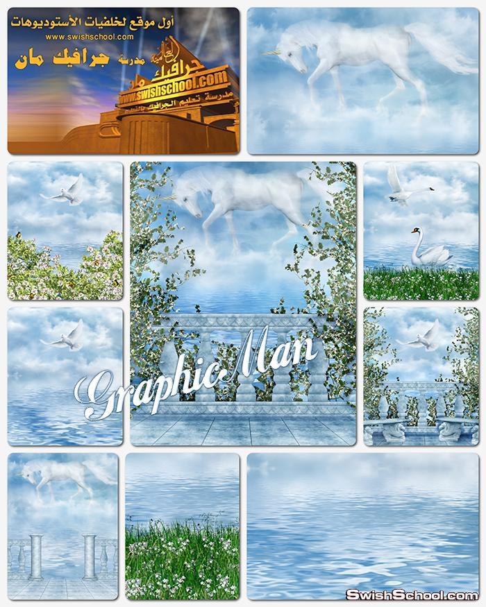 خلفيات جرافيك فانتازيا السماء والسحب الخياليه الرائعه عاليه الجوده للتصميم والاستديوهات jpg