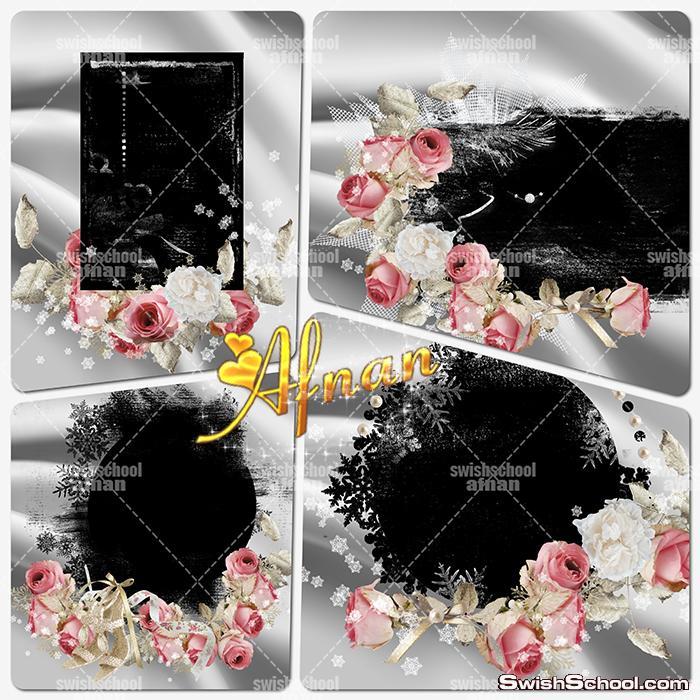 احدث واروع اكسسورات وفريمات الزهور والملفات المفتوحه عاليه الجوده لتصاميم الاستديوهات psd ,png