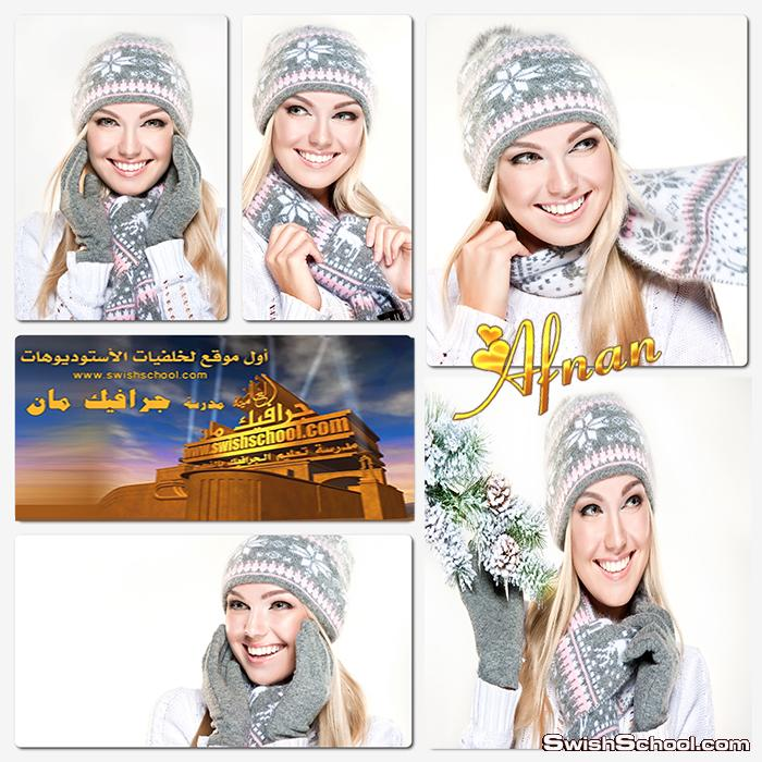 ستوك فوتو بنت جميله بملابس الشتاء لتصاميم الدمج في الفوتوشوب عاليه الدقه jpg