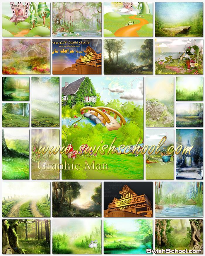 خلفيات فوتوشوب للاطفال jpg - خلفيات خضراء مرسومه عاليه الجوده للاستديوهات والتصميم