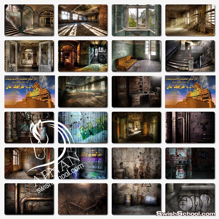 خلفيات انتريهات وحجرات عتيقه - خلفيات استديوهات - خلفيات ممرات وغرف قديمه jpg