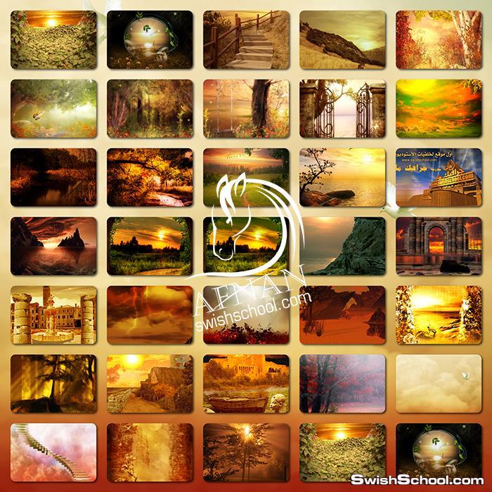خلفيات استديو الطبيعه الذهبيه jpg - فانتازيا السحر والخيال والجمال من مدرسه جرافيك مان ( الجزء الاول )