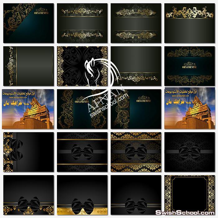 خلفيات جرافيك فكيتوريه سوداء مع زخارف ونقوش ذهبيه فاخره عاليه الجوده لبرنامج اليستريتور eps ,ai