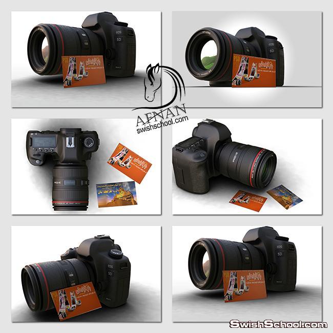 موك اب عرض البزنس كارت مع كاميرا للمصورين mock up psd