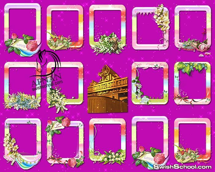اجمل واشيك فريمات الورد والزهور بدون خلفيه لمناسبات الربيع عاليه الجوده png - ايطارات مفرغه للاستديوهات