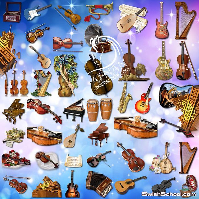 سكرابز الات موسيقى بدون خلفيه png , كمانجا وعود وجيتار والحان بخلفيه شفافه