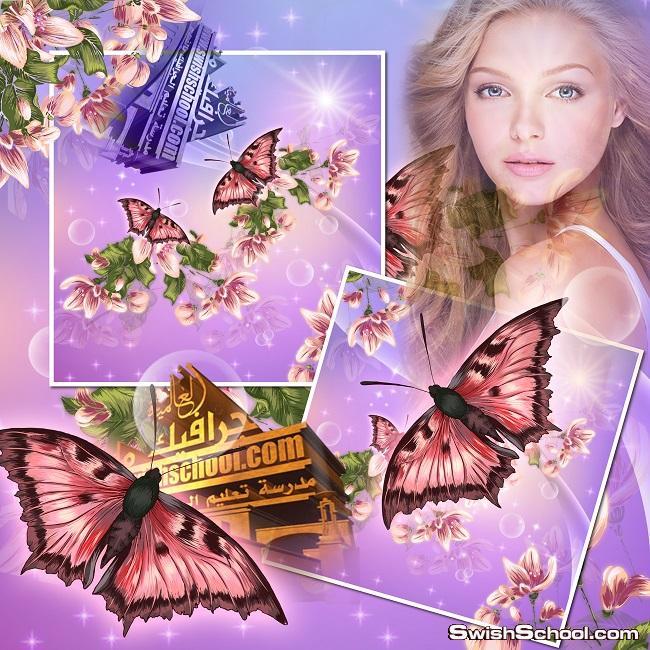 قالب فوتوشوب مفتوح المصدر مع زهور وفراشات الربيع عالي الجوده للتعديل عليه psd