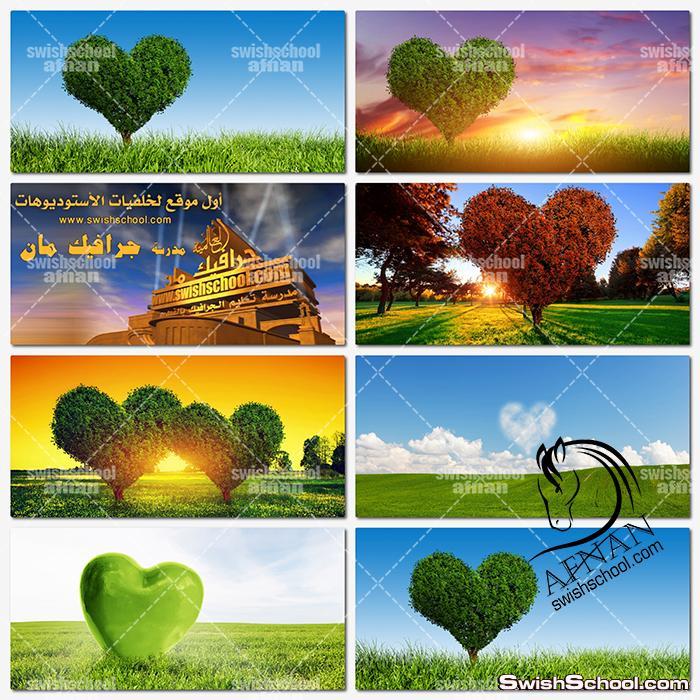 خلفيات طبيعه خضراء , خلفيات شجر على شكل قلوب عاليه الجوده لتصاميم الفوتوشوب jpg