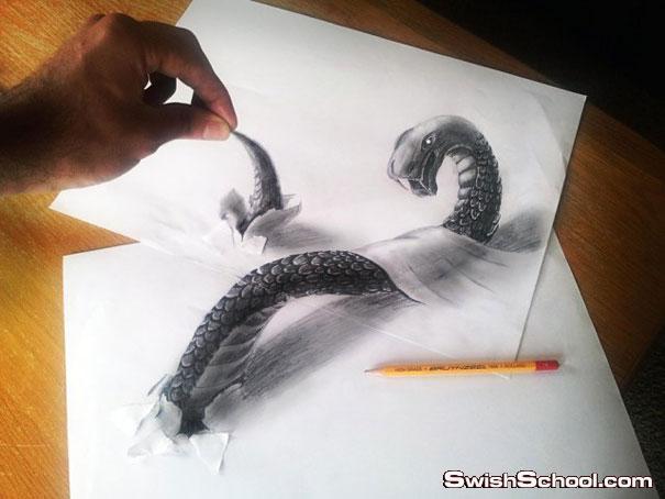 رسم مجسم بالقلم الرصاص