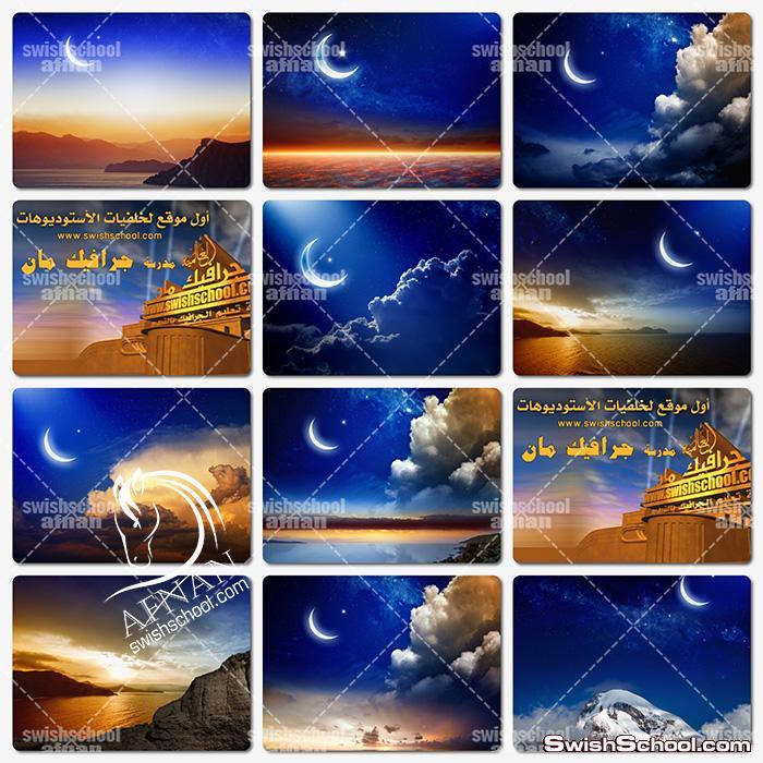 خلفيات جرافيك هلال ونجوم عاليه الدقه للتصاميم الاسلاميه jpg