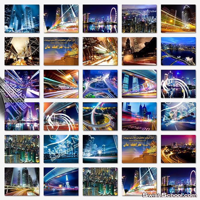 خلفيات اضواء المدن الساحره jpg - ستوكات شوارع وطرق اثناء الليل- خلفيات جرافيك مبهره للتصميم