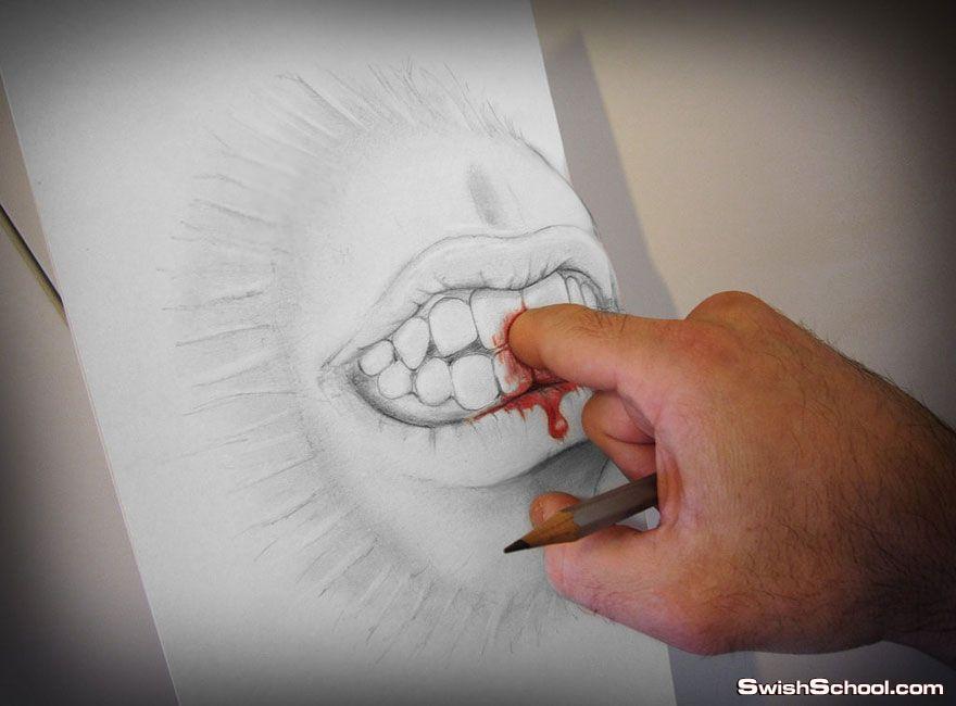 رسم مجسم ثلاثي الابعاد بالقلم الرصاص