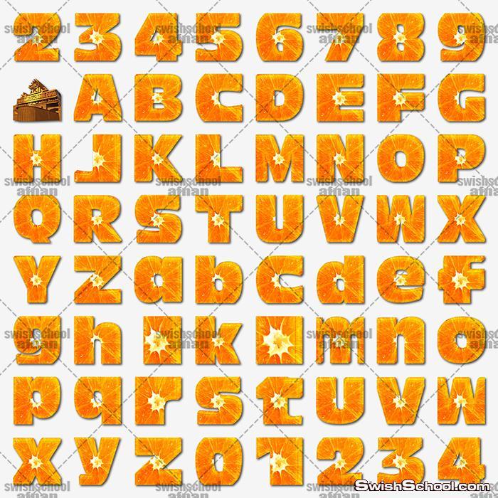 سكرابز حروف وارقام انجليزي من شرائح البرتقال png