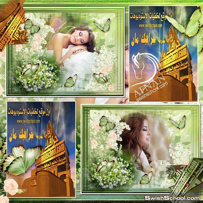 فريم اخضر مع زهور وفراشات عالي الجوده متعدد الليرات لاستديوهات التصوير psd ,png