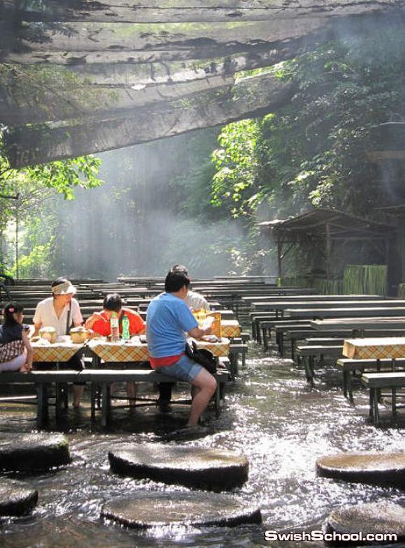 أغرب المطاعم في العالم مطعم الشلال في الفلبين