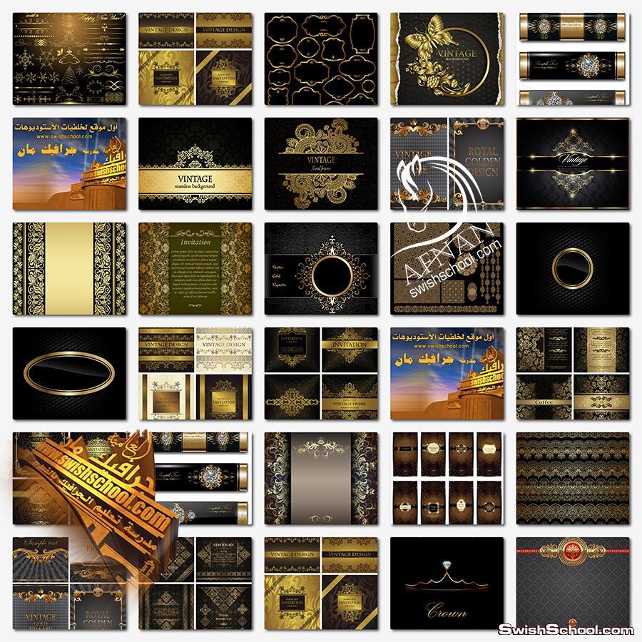 عناصر جرافيك زخارف وفواصل وخلفيات سوداء مزخرفه باللون الاسود والذهبي الفخم  eps