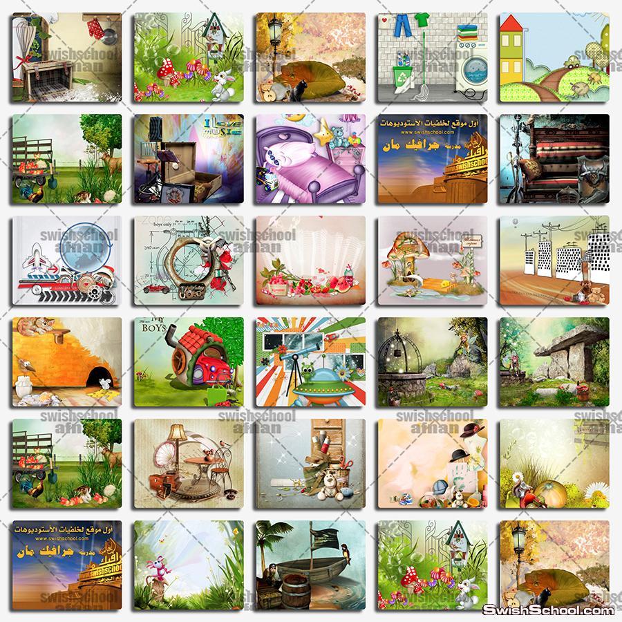 خلفيات طبيعه ورسومات كارتون لتصاميم البومات الاطفال jpg - خلفيات اطفال لاستديوهات التصوير