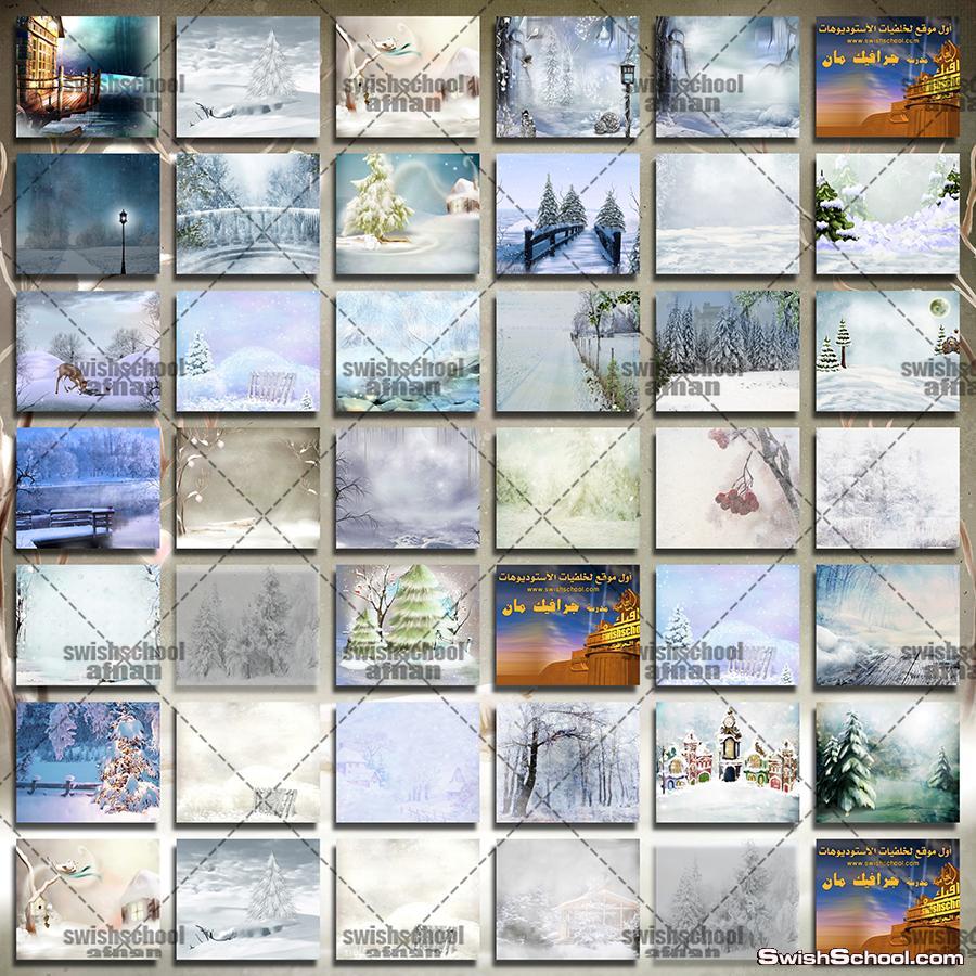 تحميل احدث خلفيات الشتاء والثلوج عاليه الجوده للفوتوشوب والاستديوهات jpg