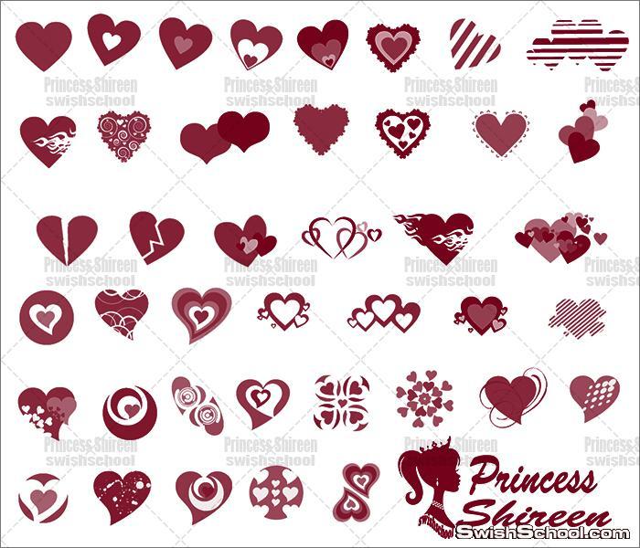 كولكشن فرش قلوب جميلة جديدة للتصاميم الرومانسيه مدرسة جرافيك مان