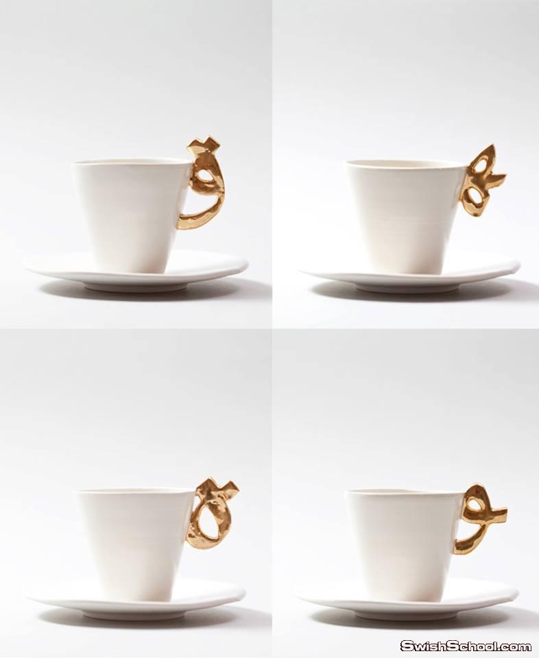 فناجين قهوة بحروف عربية , فناجين مودرن لعشاق القهوة