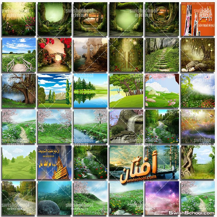 خلفيات فوتوشوب طبيعه خضراء jpg - خلفيات غابه الاحلام عاليه الجوده للاستديوهات والتصميم