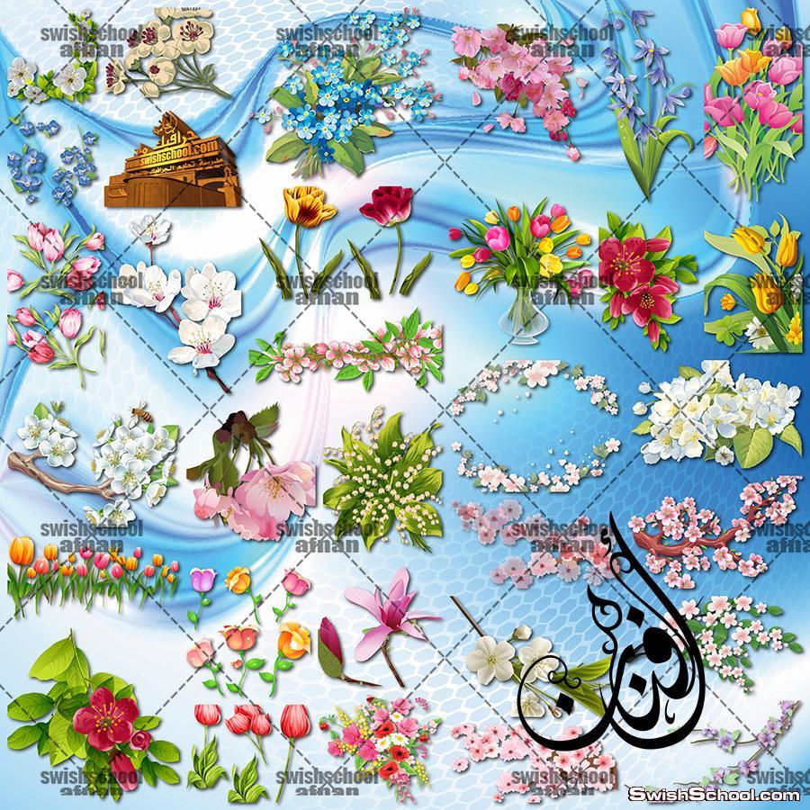 سكرابز ازهار , زهور الربيع لتصاميم الفوتوشوب png