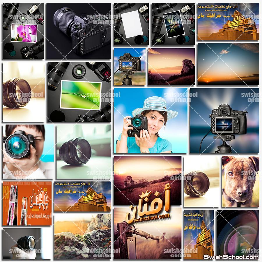 ستوك فوتو كاميرات مع خلفيه سوداء - صور فن التصوير الفوتوغرافي jpg