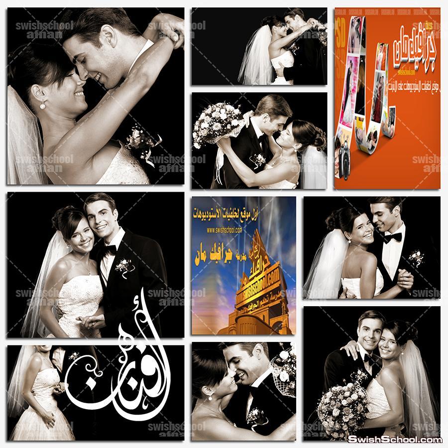 صور عريس وعروسه ابيض واسود  لتصاميم البومات الاستديوهات كلاسك jpg