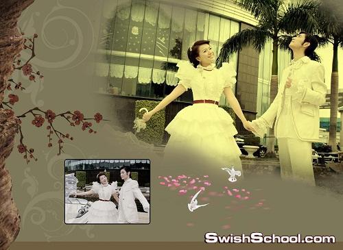 خلفيات زفاف رومانسيه زوج وزوجه في شهر العسل - خلفيات مفتوحه للاستديوهات psd 2013