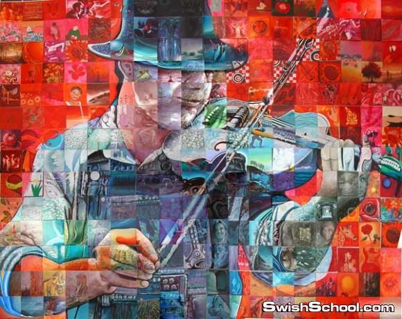 فنان يجمع بين المئات من اللوحات - فن الفسيفساء