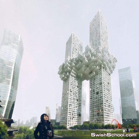 مجمعات السحاب في كوريا الجنوبيه - ناطحه سحاب غريبه في كوريا