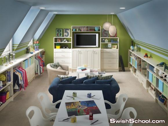 غرف نوم اطفال حديثه باللون الاخضر2013  , ديكورات باللون الاخضر للاطفال 2013