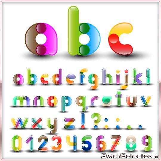 مجموعة من الحروف الفيكتور ...Numbers Vector